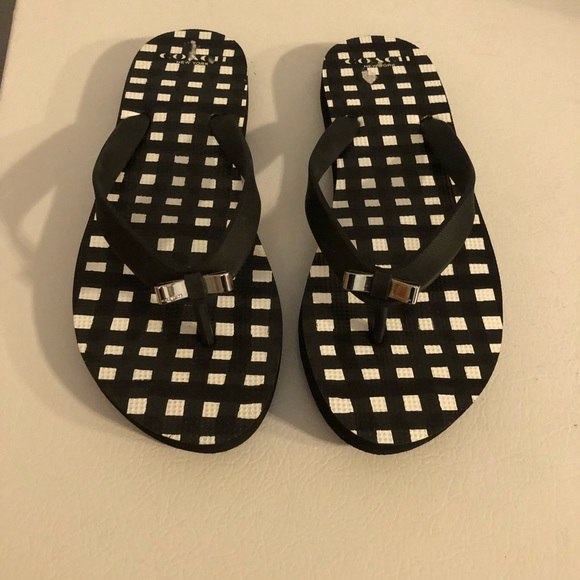 81ae072add28f8 Coach Shoes - Coach flip flop sandal black white bow size 7-8 L